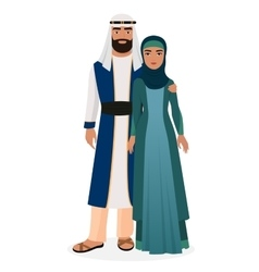 Arab family arabian man and woman couple in vector