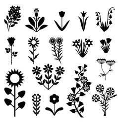 Flower set black vector
