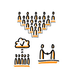Business community stick figures vector