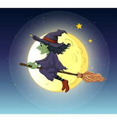 A witch riding with her broomstick vector