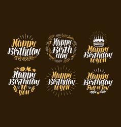 Birthday label set holiday birth day logo or vector