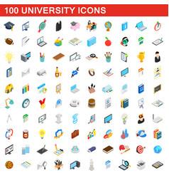 100 university icons set isometric 3d style vector