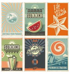 summer retro posters collection vector image