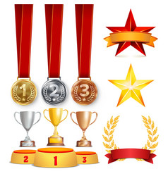 trophy awards cups golden laurel wreath with red vector image