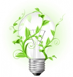 light bulb twisted with plant vector image