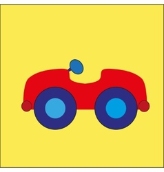 Red cartoon car on the yellow background vector