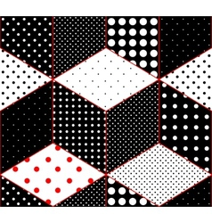 Polka dot patchwork on imitation of cubes surfaces vector