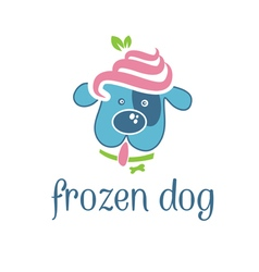 Concept dog with frozen yogurt on head vector