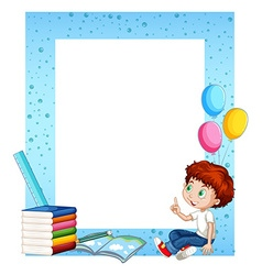 Little boy and books around border vector