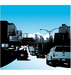 Downtown city and traffic on highway vector