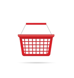 Shopping basket in red vector