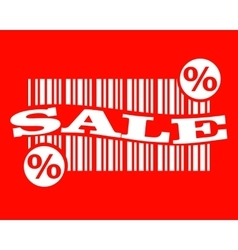 Barcode with sale text and percent sign vector