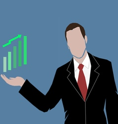 A business man showing the money market rising vector