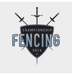 Fencing championship badge vector