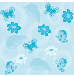 seamless flowers and butterflies blue vector image