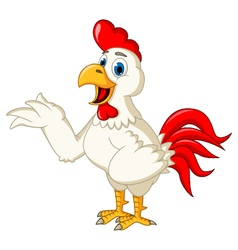 Happy cartoon rooster waving vector