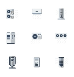 Air cooling equipment color flat icons set vector