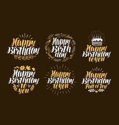Birthday label set holiday birth day logo or vector