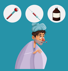 Blue color background with cold sickness man half vector