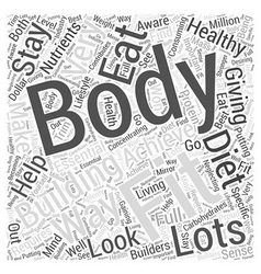 Body building for fitness word cloud concept vector
