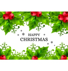 Christmas background with holly leaves decorations vector