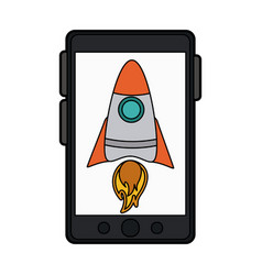 Colorful silhouette smartphone device with rocket vector