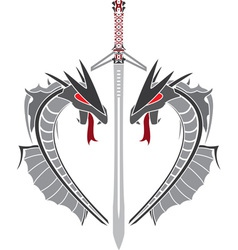 gray dragons and sword stencil vector image vector image
