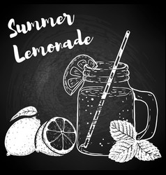 Hand drawn bottle with lemonade lemons and mint vector