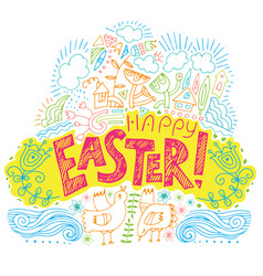 happy easter colored fun backgroun vector image
