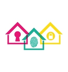Home security protection emblem design vector