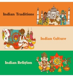 India sketch banners set vector image vector image