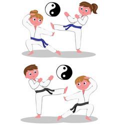 Karate kids vector