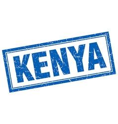 Kenya blue square grunge stamp on white vector
