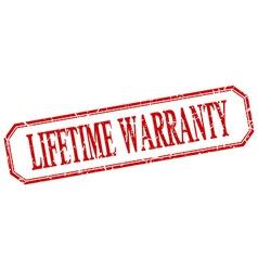 Lifetime warranty square red grunge vintage vector