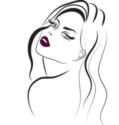 long hair purple lips beauty icon vector image vector image