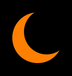Moon sign orange icon on black vector