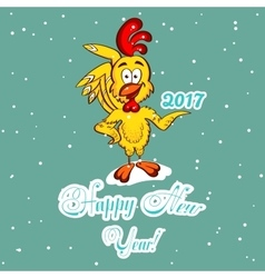 New Year Greeting Card Yellow Chicken vector image