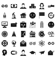 Online learning icons set simple style vector