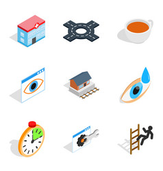 Physiotherapist icons set isometric style vector