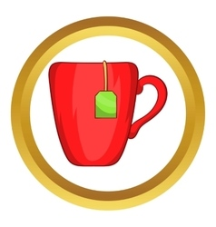 Red cup with tea bag icon vector
