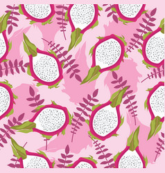 Seamless tropical pattern with fresh sliced dragon vector