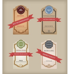 Set of labels with retro vintage styled design vector image