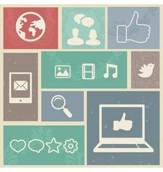 Set with vintage social media labels - vector