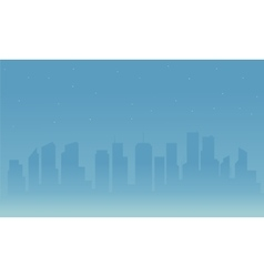Silhouette of city and fog vector image vector image