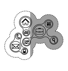silhouette technology service online icons vector image vector image
