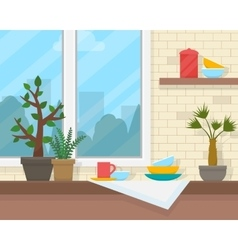 Table and window with house plants vector