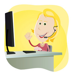 Technical support girl vector