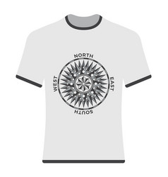 Vintage compass rose t-shirt vector