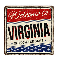 Welcome to virginia vintage rusty metal sign vector