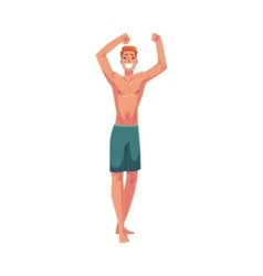 Young red haired athletic man in swimming shorts vector